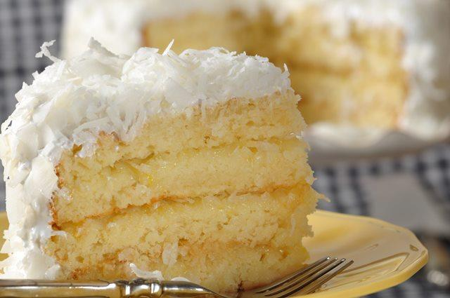 Coconut Cake With Lemon Filling And Cream Cheese Frosting