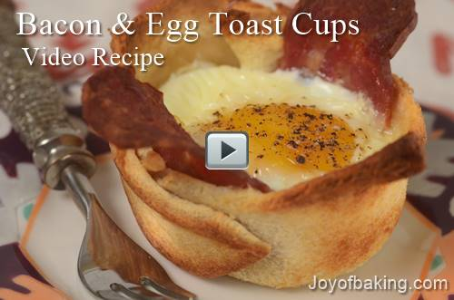 baconeggtoastcups - Bacon & Egg Toast Cups Video Recipe - Joyofbaking.com
