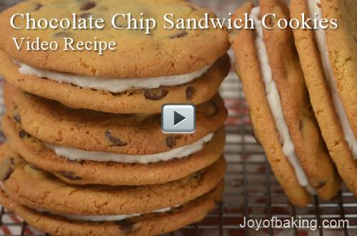 chocolatechipsandwichcookies - Chocolate Chip Sandwich Cookies Video Recipe - Joyofbaking.com