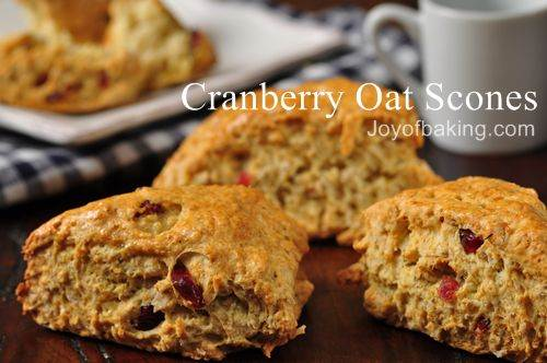 Cranberry - Oat Scones Recipe - Joyofbaking.com *Video Recipe*