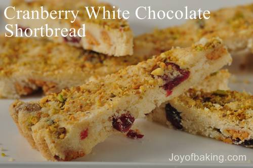 Cranberry White Chocolate Shortbreads Recipe