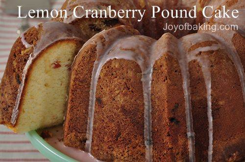 Lemon Cranberry Pound Cake Recipe
